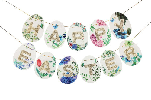 Happy Easter Floral Glitter Egg Paper Bunting (2 meter)