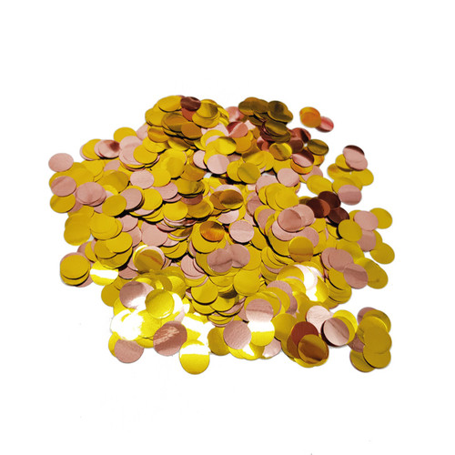 10gram Mini Paper Round Confettis (1cm) -Gold and Metallic Rose Gold