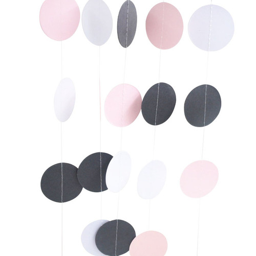 Light Pink and Grey paper Garland