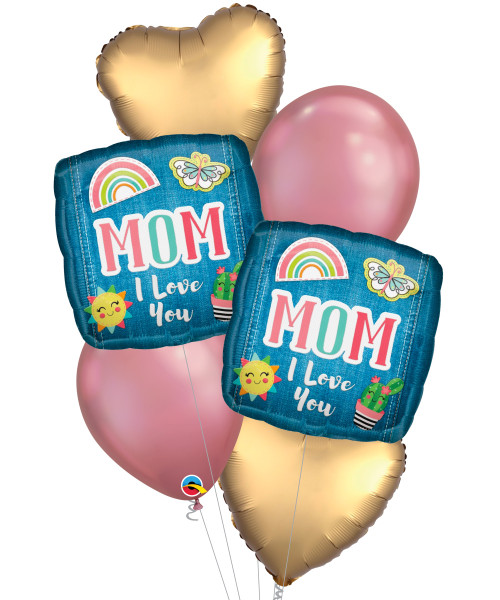 [You're Amazing] Mom I Love You Patches Satin Chrome Balloon Bouquet
