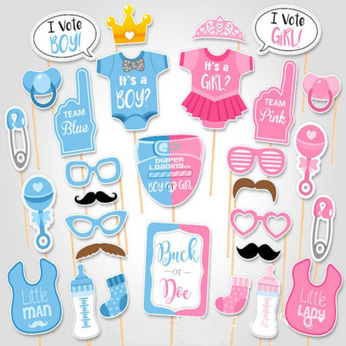 Little Man or Little Lady? Gender Reveal Photobooth Props (30 Designs, DIY Kit)