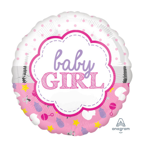 2 in 1 Baby Girl Design Foil Balloon (18inch)