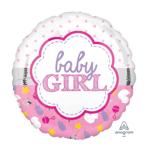 2 in 1 Baby Girl Design Foil Balloon (18inch)