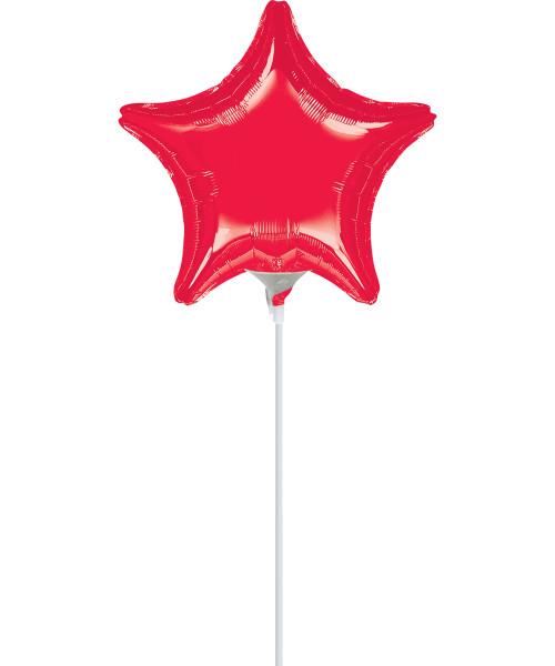 """4""""/10cm Mini Star Foil Balloon - Red"""
