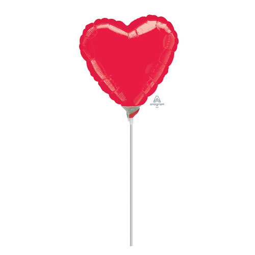 "9""/23cm Small Heart Foil Balloon - Red"
