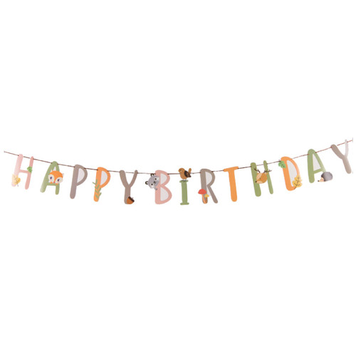 Happy Birthday Letter Bunting (3meter) - Woodland Animals Themed