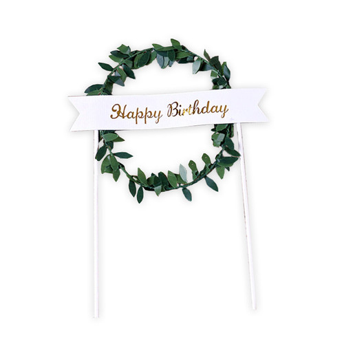 Happy Birthday Banner Wreath Cake Topper - Green
