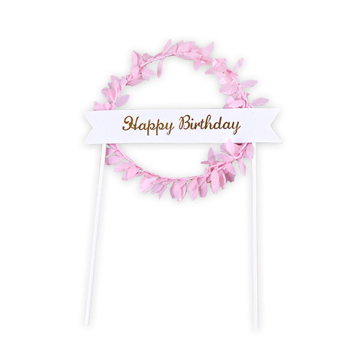 Happy Birthday Banner Wreath Cake Topper - Pink