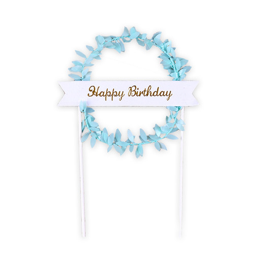 Happy Birthday Banner Wreath Cake Topper - Blue