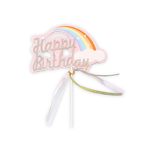 Iridescent Happy Birthday Rainbow Cake Topper - Pink Glitter