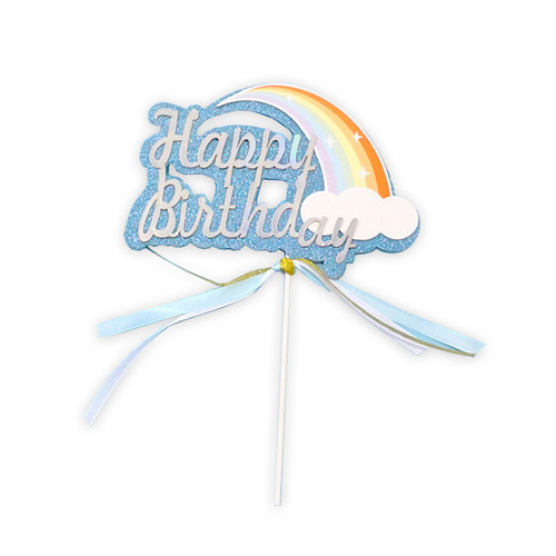 Iridescent Happy Birthday Rainbow Cake Topper - Blue Glitter