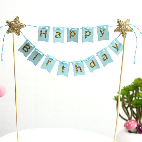 Happy Birthday Bunting Cake Topper - Baby Blue