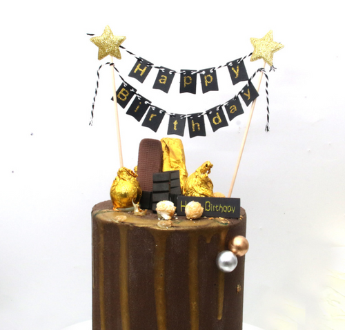 Happy Birthday Bunting Cake Topper - Black