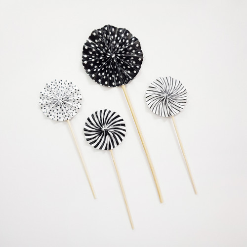 Assorted Pattern Paper Fan Cake Toppers (4pcs) - Classic Black