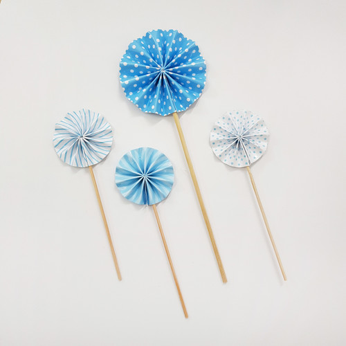 Assorted Pattern Paper Fan Cake Toppers (4pcs) - Ocean Blue