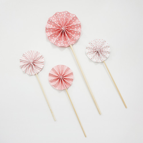 Assorted Pattern Paper Fan Cake Toppers (4pcs) - Sweet Pink
