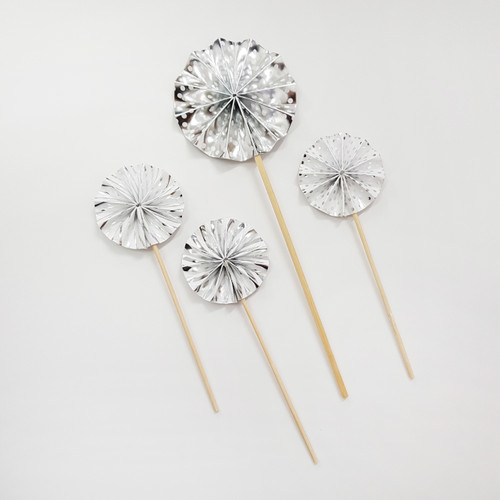 Assorted Pattern Paper Fan Cake Toppers (4pcs) - Metallic Silver
