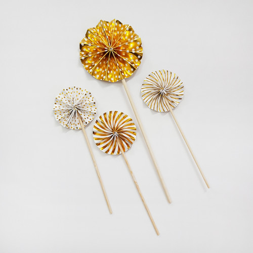 Assorted Pattern Paper Fan Cake Toppers (4pcs) - Metallic Gold