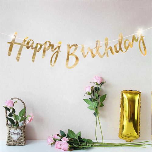 Reflective Mirror Happy Birthday Bunting (1 meter)- Gold