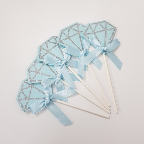 Glitter Diamond Cupcake Toppers (5pcs) - Blue