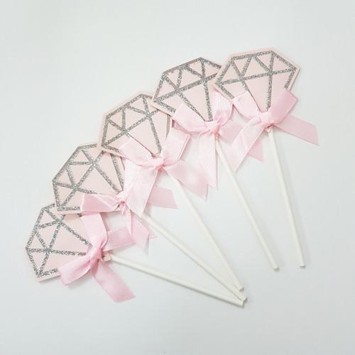 Glitter Diamond Cupcake Toppers (5pcs) - Pink