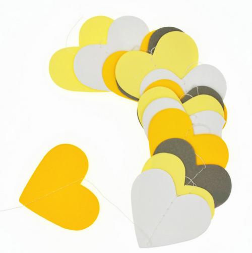 [5cm] Paper Heart Garland (1meter) - Yellow, Grey & White