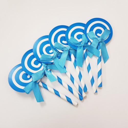 Swirl Lollipop Cupcake Toppers (6pcs) - Sky Blue