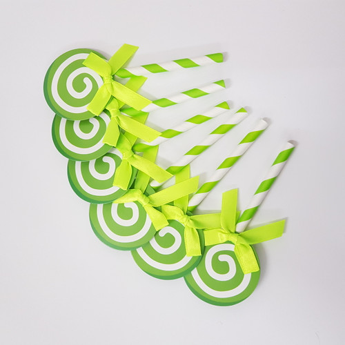 Swirl Lollipop Cupcake Toppers (6pcs) - Green Apple