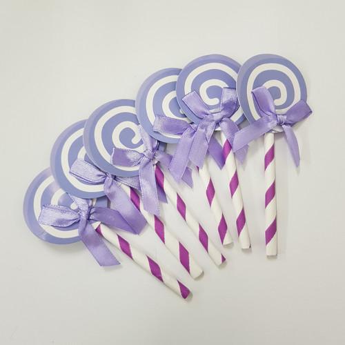 Swirl Lollipop Cupcake Toppers (6pcs) - Lavender