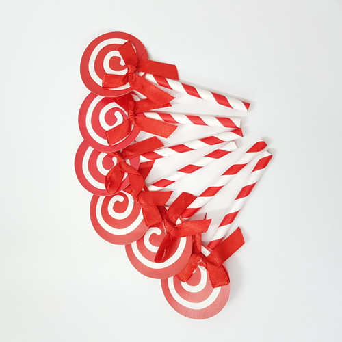 Swirl Lollipop Cupcake Toppers (6pcs) - Watermelon