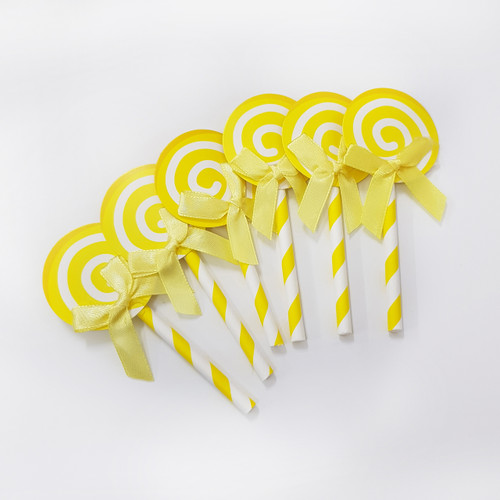 Swirl Lollipop Cupcake Toppers (6pcs) - Lemon