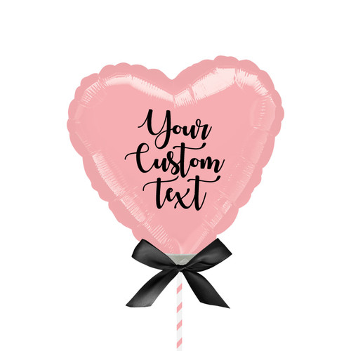 "9""/23cm Personalised Small Heart Foil Balloon - Pastel Pink"