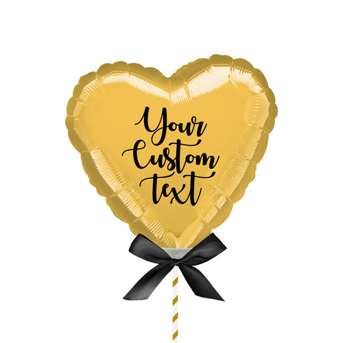 "9""/23cm Personalised Small Heart Foil Balloon - Gold"