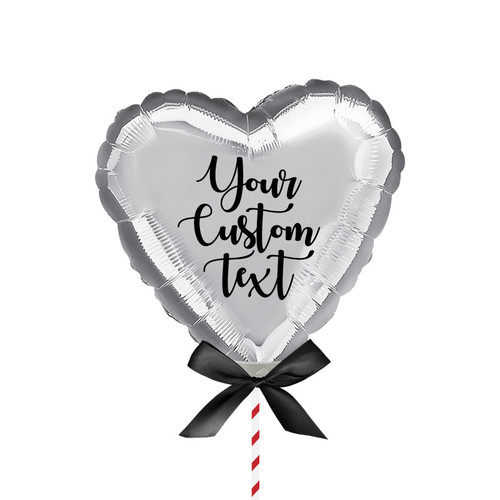 "9""/23cm Personalised Small Heart Foil Balloon - Silver"