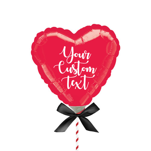 "9""/23cm Personalised Small Heart Foil Balloon - Red"