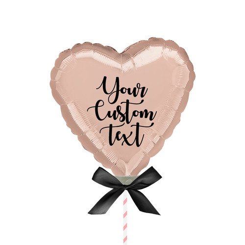 "9""/23cm Personalised Small Heart Foil Balloon - Rose Gold"