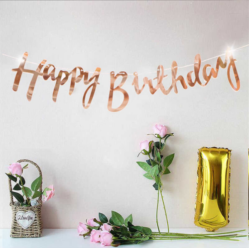 Reflective Mirror Happy Birthday Bunting (1 meter)- Rose Gold