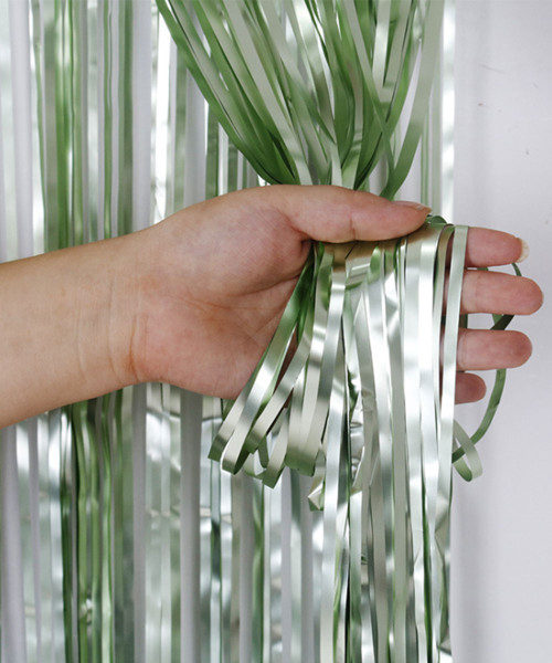 Streamer Curtain Fringe Backdrop (1meter x 2 meter) - Metallic Martini Green