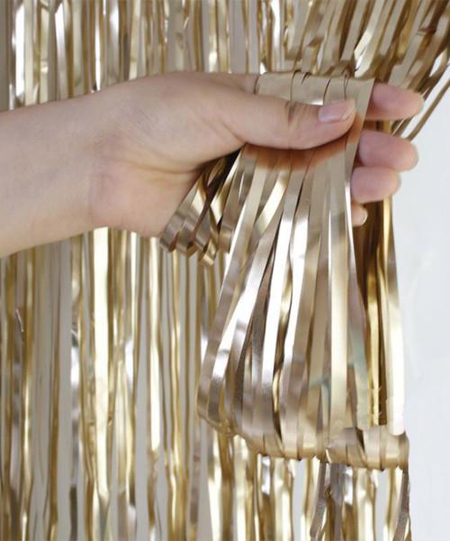 Streamer Curtain Fringe Backdrop (1meter x 2 meter) - Metallic Chiffon Champagne