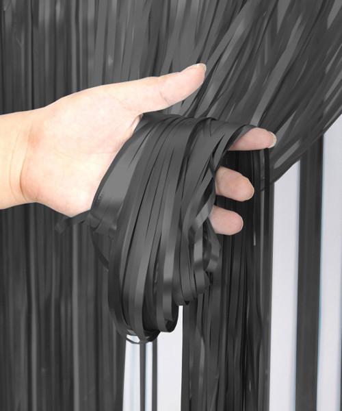 Streamer Curtain Fringe Backdrop (1meter x 2 meter) - Metallic Mystic Black