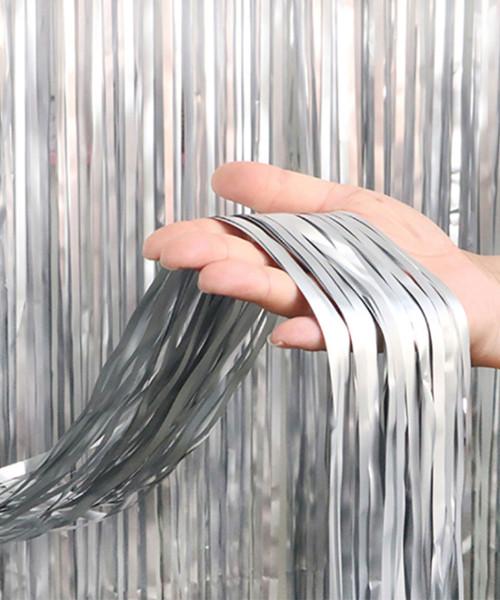 Streamer Curtain Fringe Backdrop (1meter x 2 meter) - Metallic Iceberg Silver