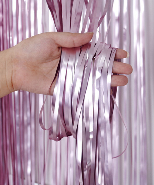 Streamer Curtain Fringe Backdrop (1meter x 2 meter) - Metallic First Love Pink