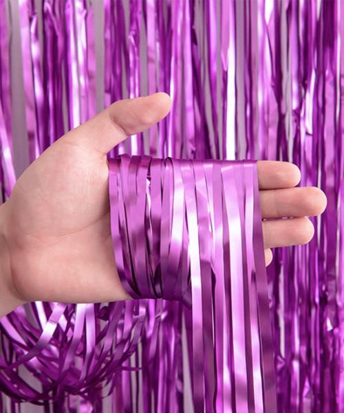 Streamer Curtain Fringe Backdrop (1meter x 2 meter) - Metallic Wild Violet