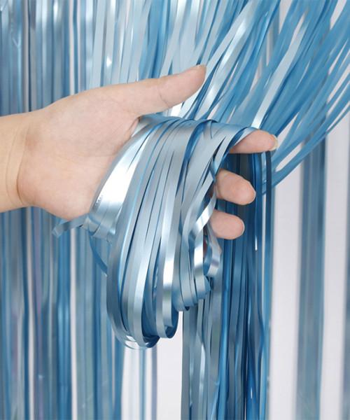 Streamer Curtain Fringe Backdrop (1meter x 2 meter) - Metallic Lullaby Blue