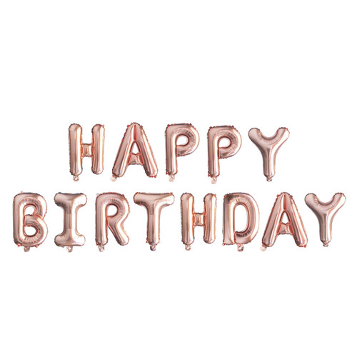 "[Birthday Pack] 16"" Happy Birthday Alphabet Foil Balloons Banner - Rose Gold"