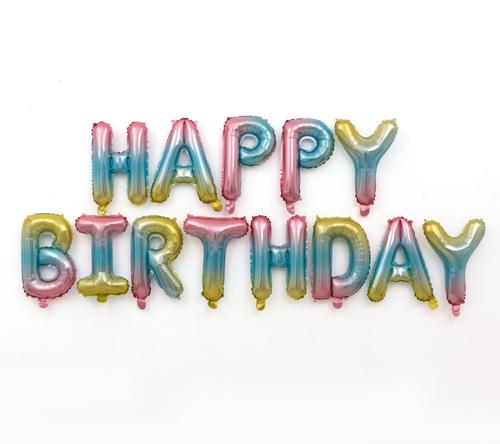"[Birthday Pack] 16"" Happy Birthday Alphabet Foil Balloons Banner - Gradient"