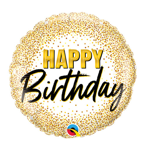 [Party] Birthday Gold Glitter Dots Foil Balloon (18inch)