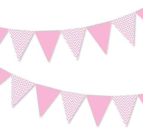 Chevron Zig Zag Paper Bunting (2.5 meter) - Baby Pink