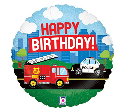 [Transportation] Happy Birthday Emergency Vehicle Foil Balloon (18inch)