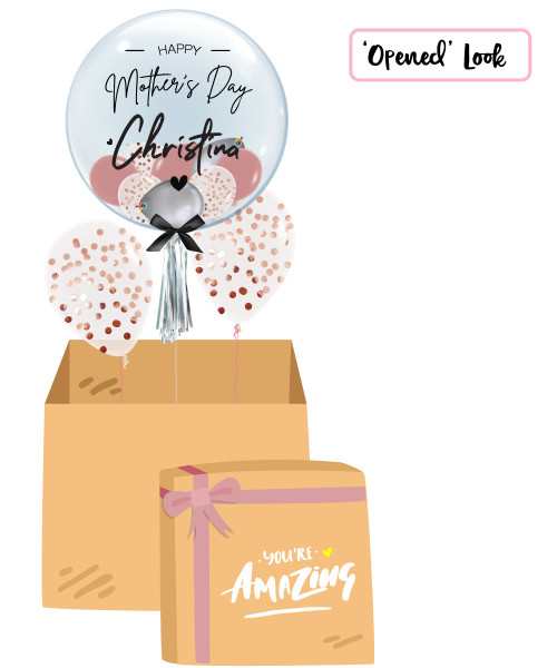 [You're Amazing Surprise Box] Personalised Name Happy Mother's Day Crystal Clear Balloon - Mini Confetti, Chrome & Fashion Latex Balloons Filled
